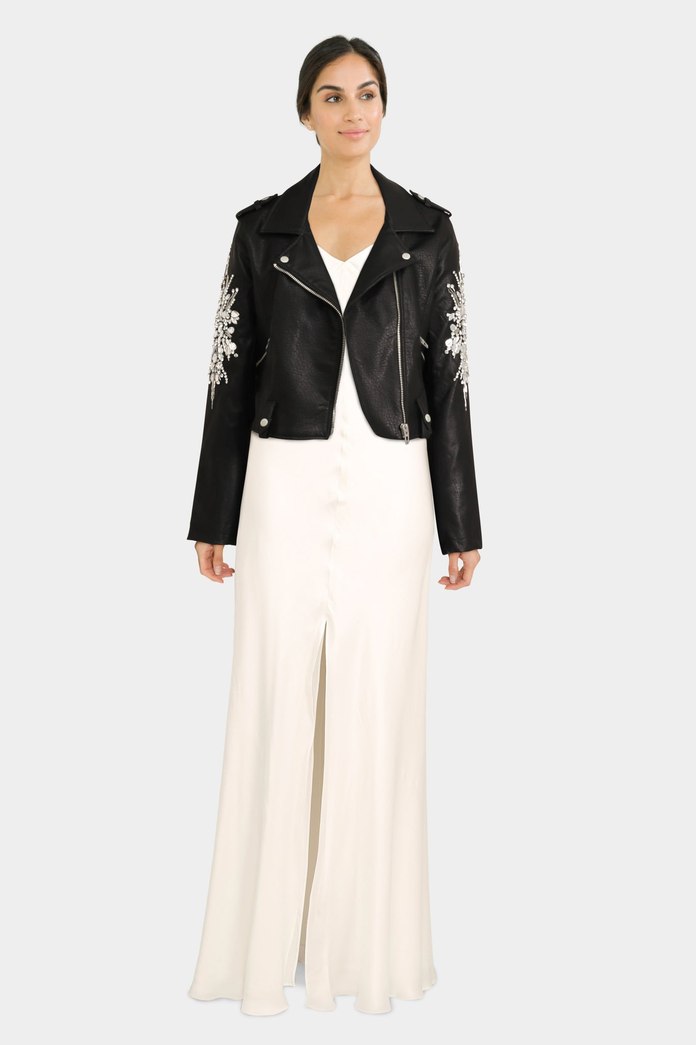 Long Silk Dress With Jewel Embellished Biker Jacket