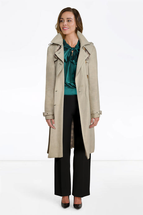 Chloe Emerald Top, D&G Trousers, Trench Coat
