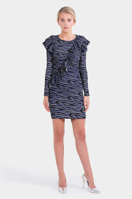H! By Henry Holland Zebra Print Ruffle Dress