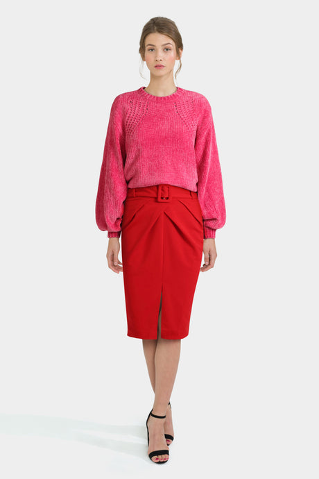 Belted Pencil Skirt & Balloon Sleeve Jumper
