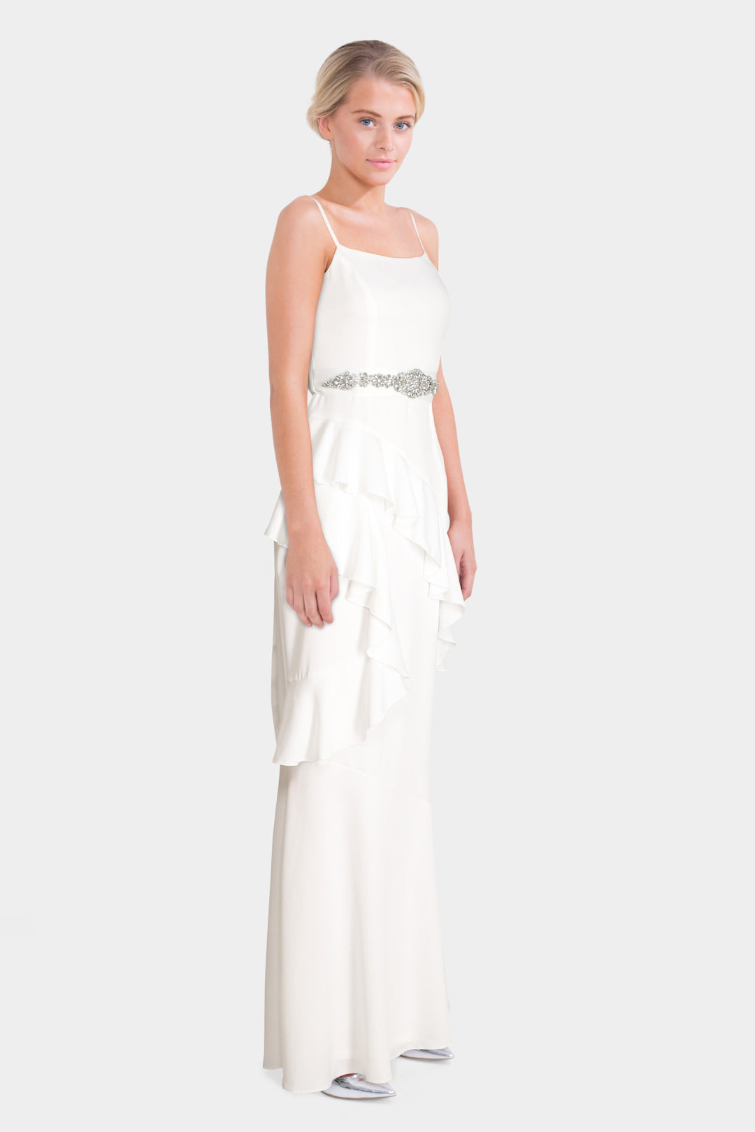 Ruffle Maxi With Embellished Belt