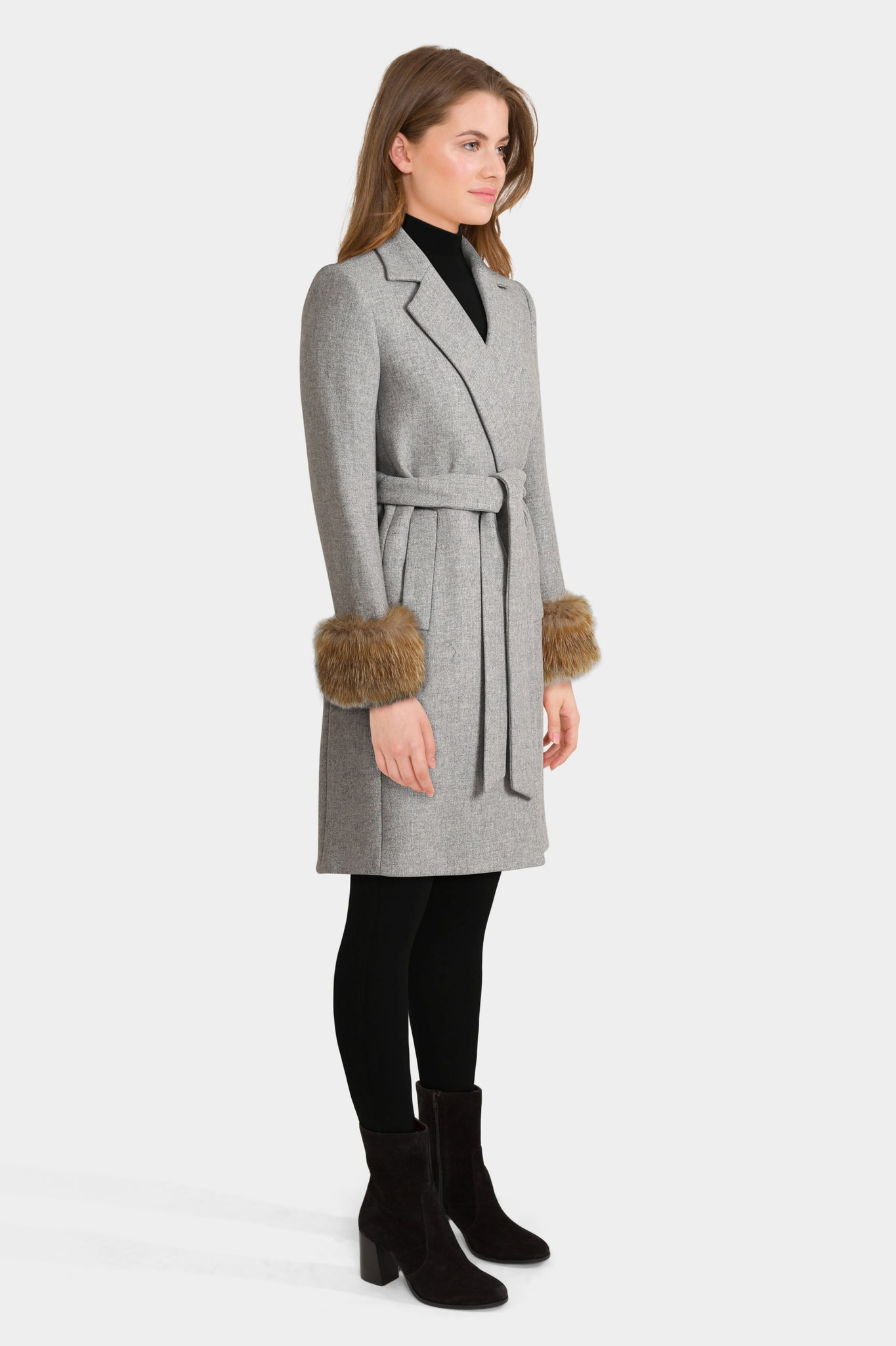 Coat With Textured Cuffs