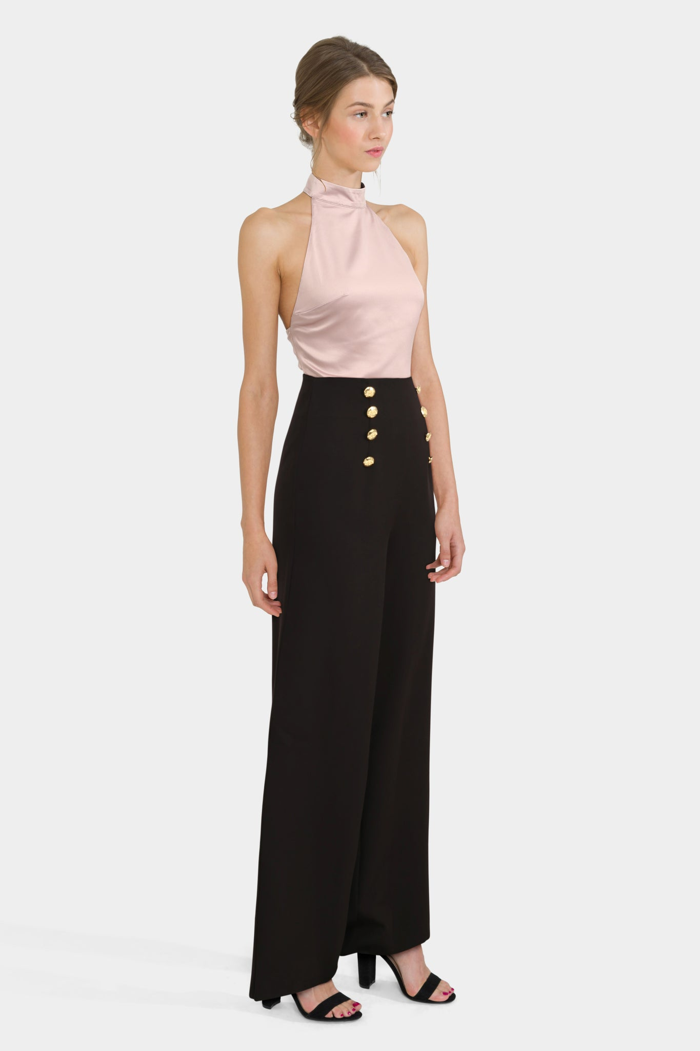 Wide Leg Trousers With Satin Halter Neck Top