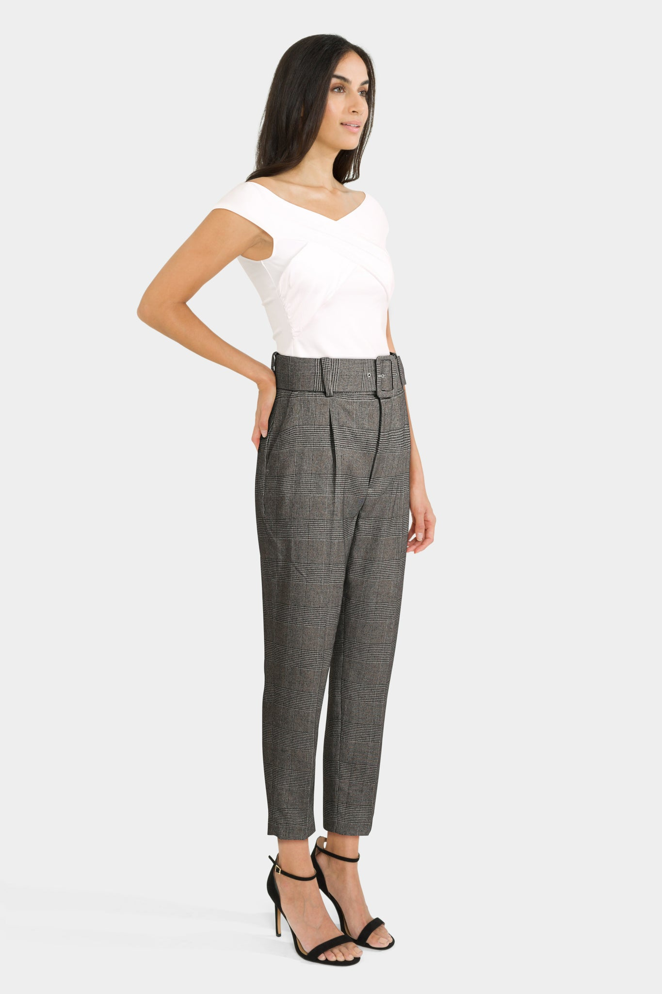 Checked Trousers And Wrap Front Top