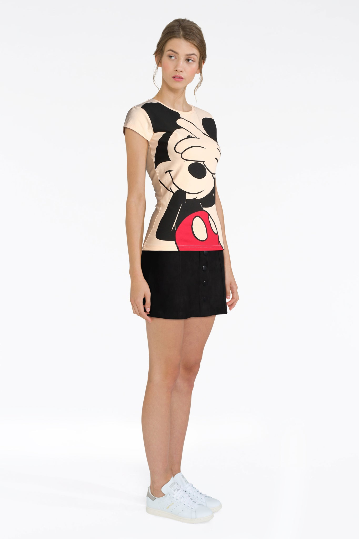 Print Tee With Black Mini Skirt