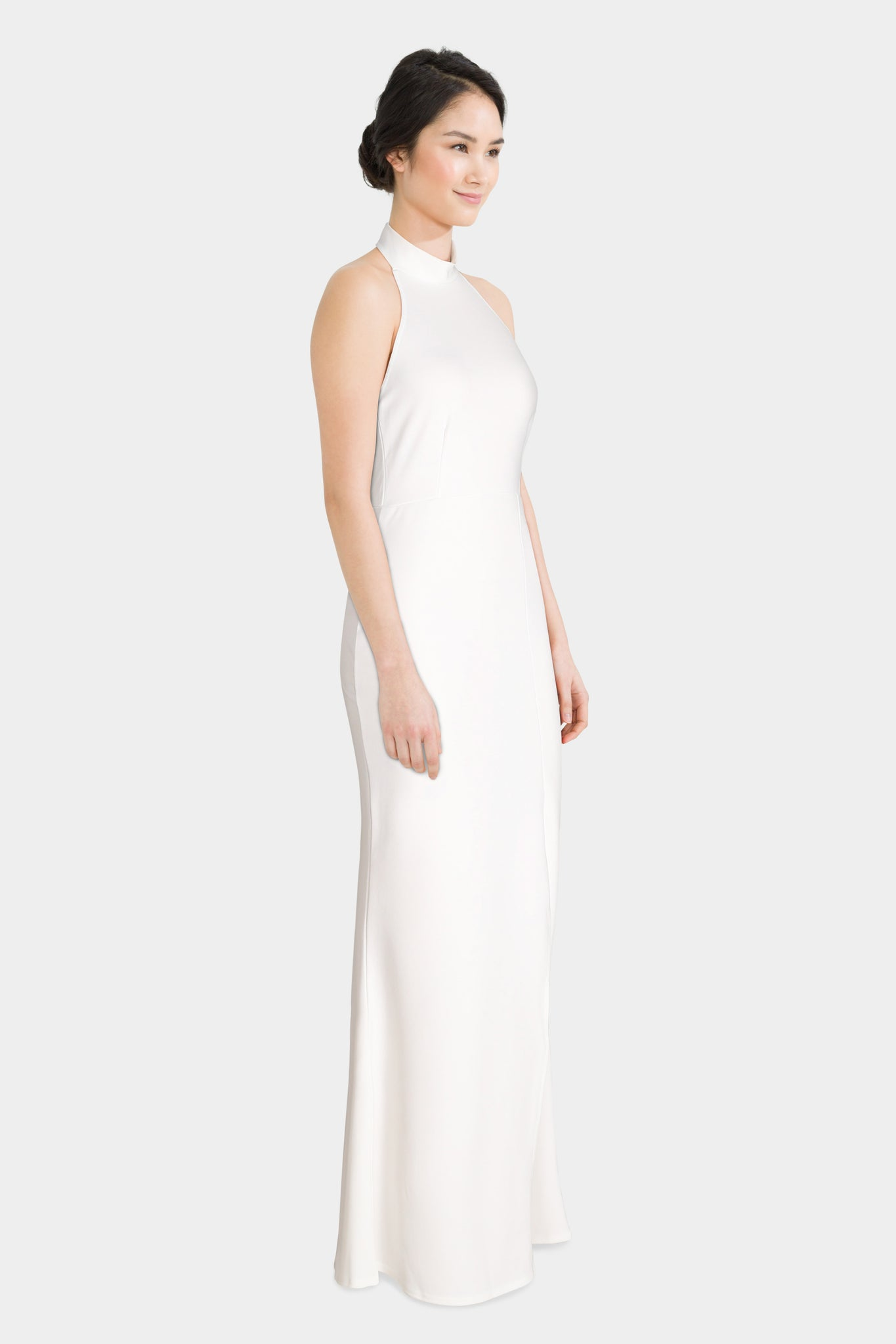 White choker neck maxi dress