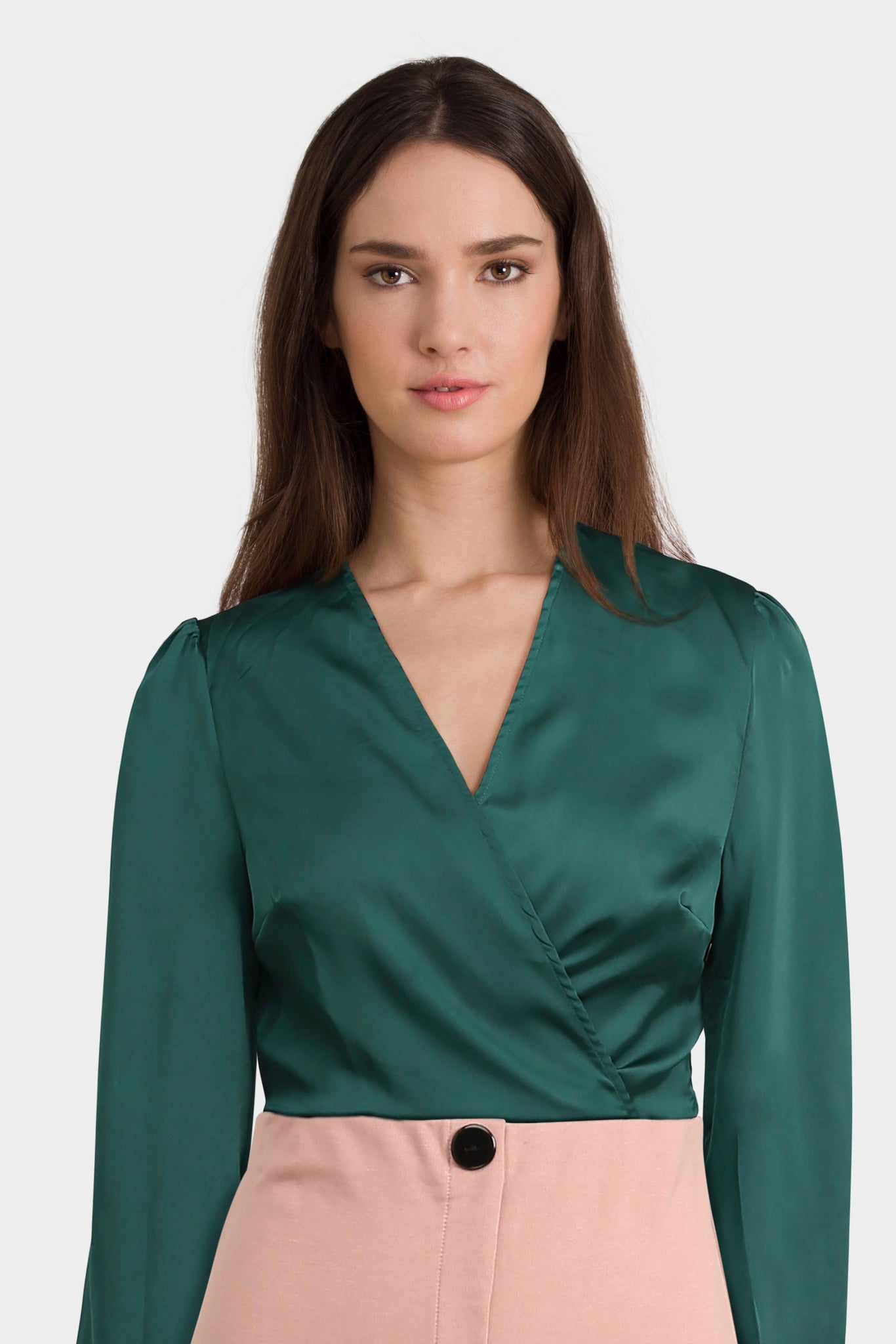 Glamorous Tall Wrap Front Top With Wide Tie Sleeves In Satin