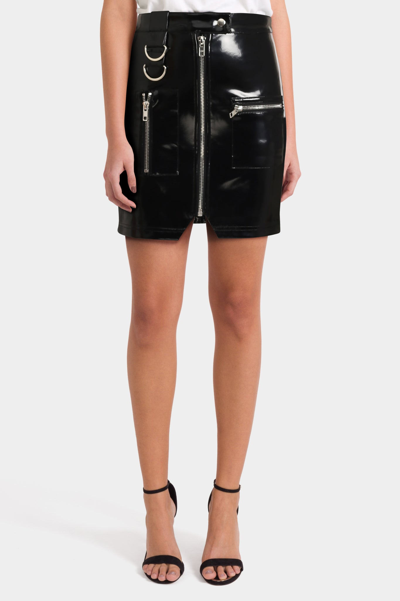 Asos Tall Premium Vinyl Mini Skirt with Zip and D Ring Detail