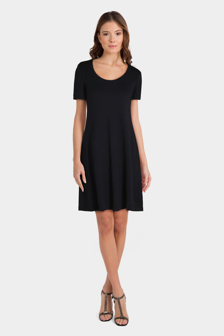 Daily Ritual Women's Pima Cotton and Modal Short-Sleeve Scoop Neck Dress