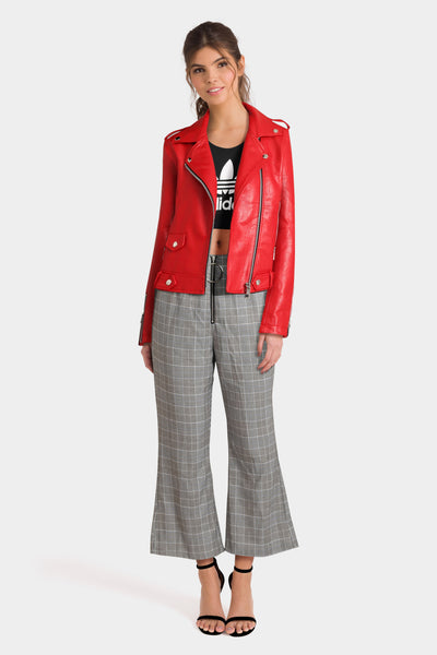 Mango Cropped Biker Jacket, Adidas Bralet Top & PrettyLittleThing Trousers