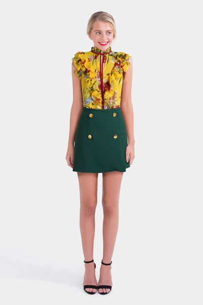 ASOS Yellow Floral Blouse & ASOS Mini Skirt
