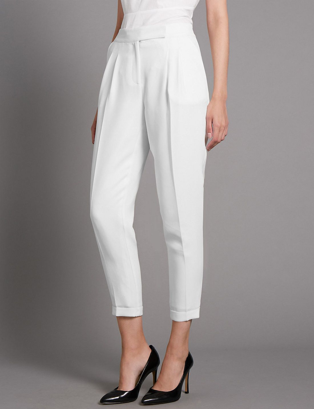 Grosgrain Pleated Turn Up Trousers