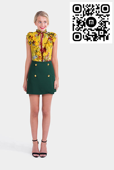 Asos Front Mini A-Line Skirt & Yellow Floral Blouse