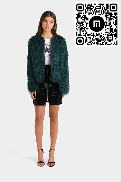Asos Vinyl Skirt Faux Fur Jacket & Converse T Shirt