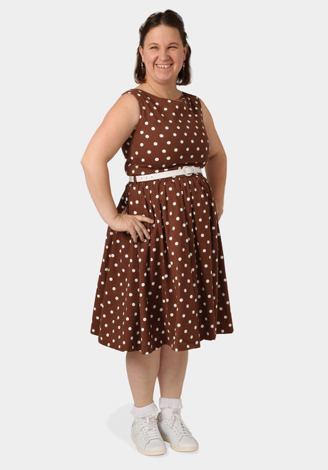 Brown Polka Dot 50S Dress