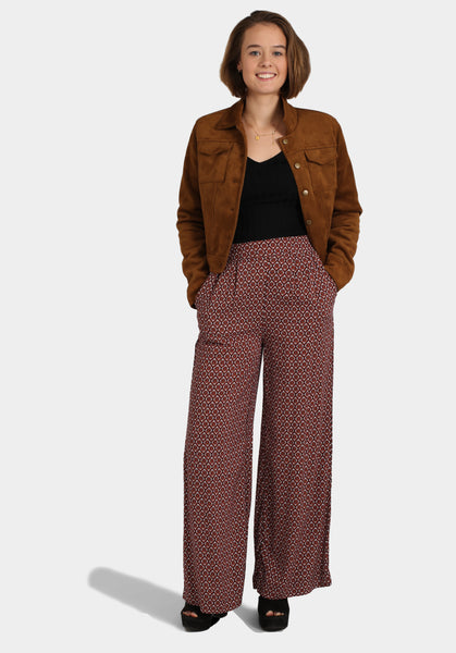 Off the Shoulder Top, Hippie Print Trousers & Suede Jacket