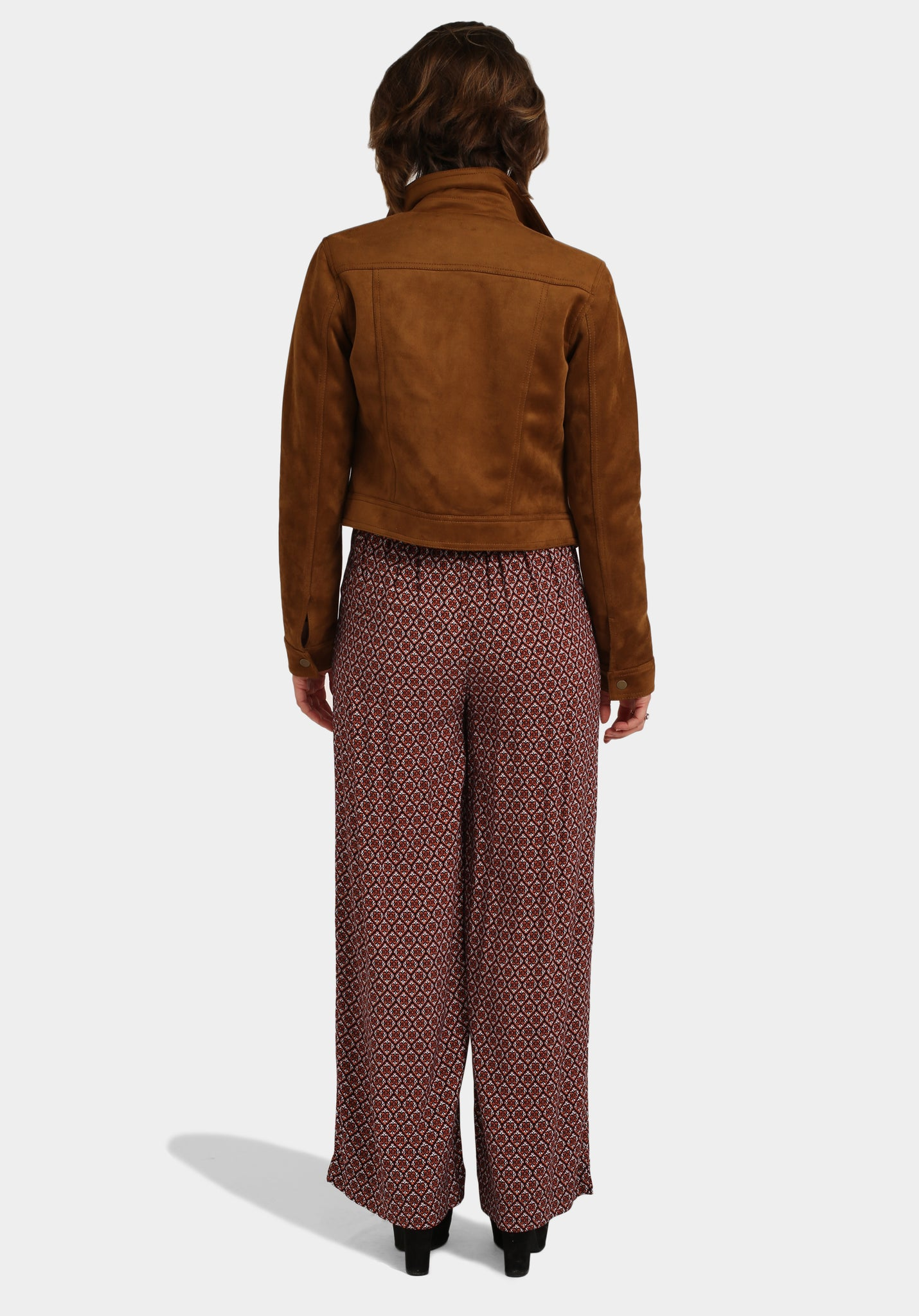 Off The Shoulder Top Hippie Print Trousers & Suede Jacket