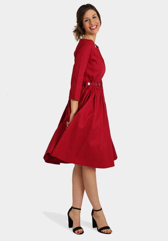 Red Long Sleeve 50s Dress