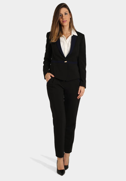 Navy & Black Suit with White Pocket Long Sleeve Top