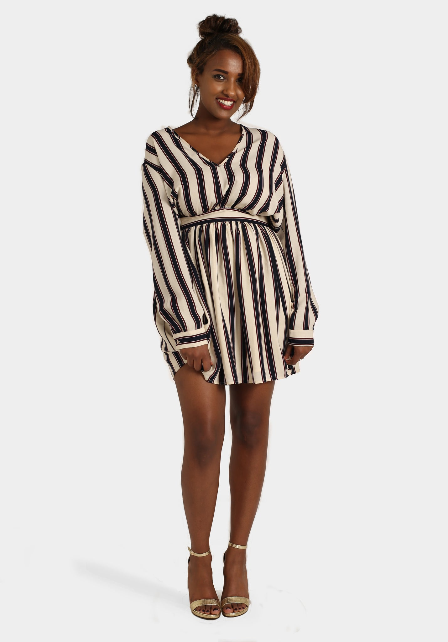Stripey Cream Dress