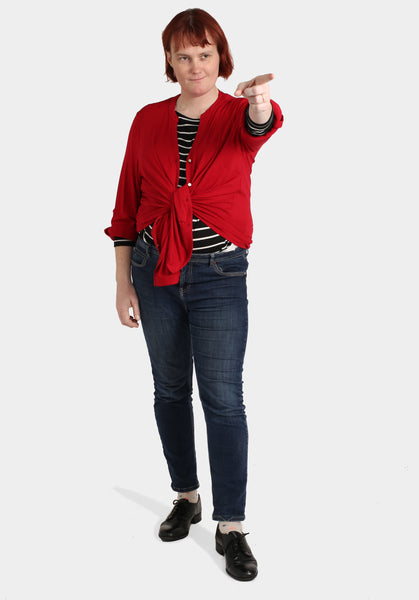 Stripey Button Top, Red Jacket & Skinny Jeans