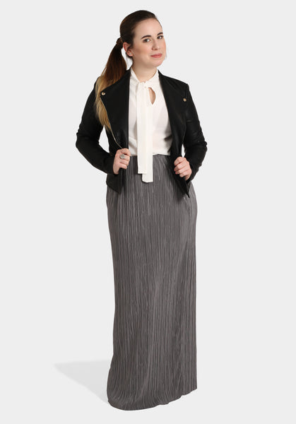 Polished Leather Look Jacket, White Top & Pleated Silver Skirt