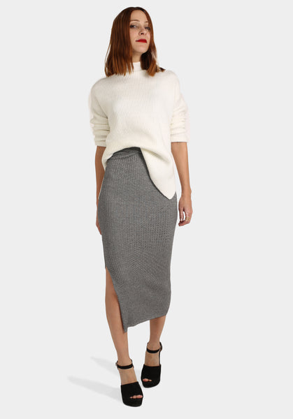 Long Bodycon Skirt with White Jumper