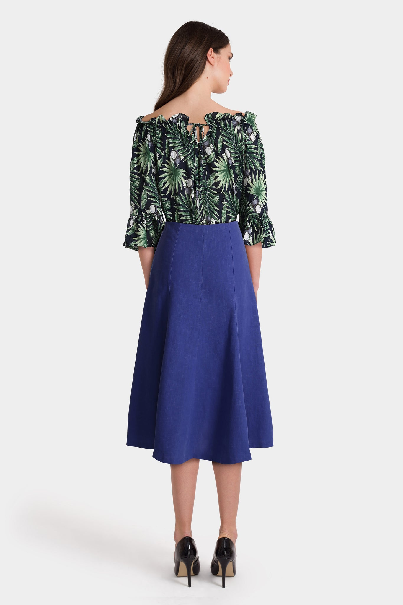 Green Print Top & Long Blue Skirt