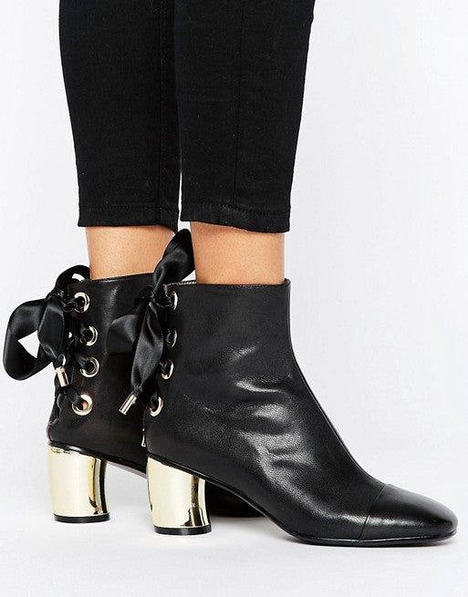 Lavish Alice Leather Lace Up Ankle Boots with Metallic