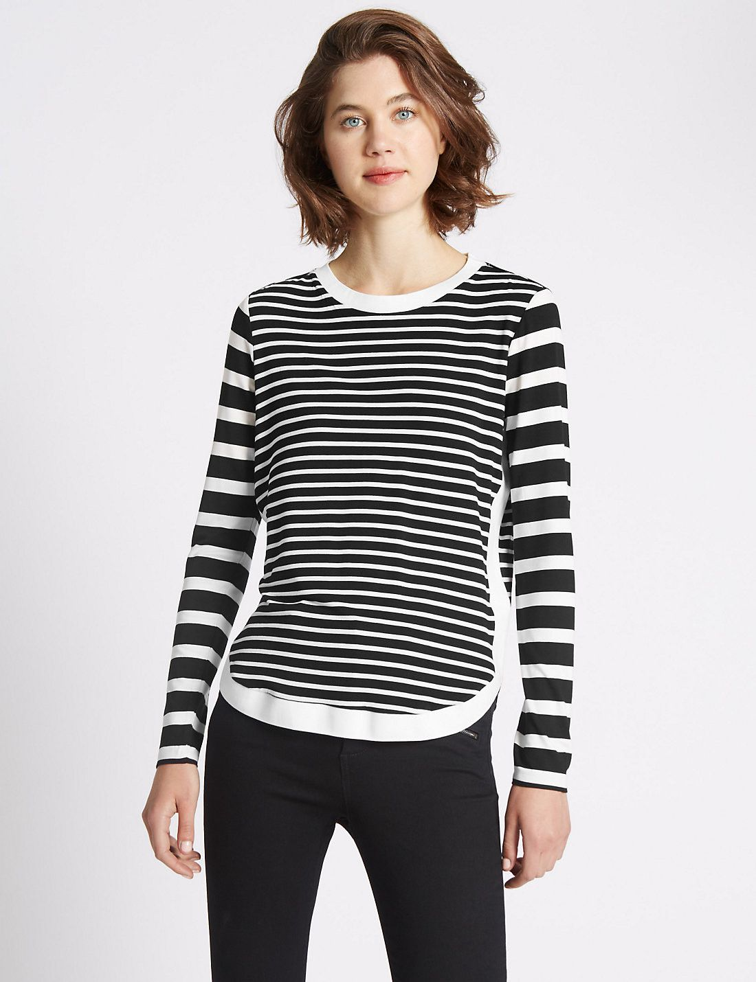 Loose Fit Long Sleeve Striped Jersey Top