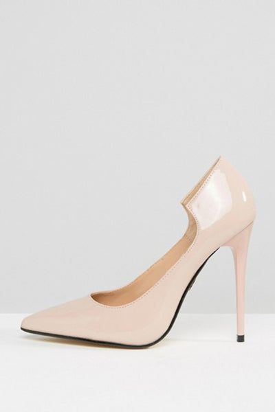 Lost Ink Freya Light Pink Curved Court Shoes
