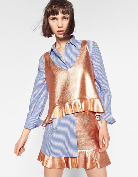 FRILLED METALLIC TOP