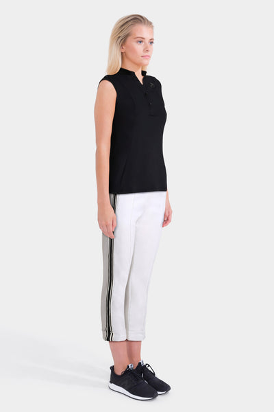 Black Top & White Trousers