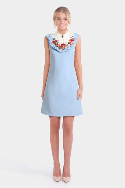 Boohoo Shift Dress With Floral Embroidery