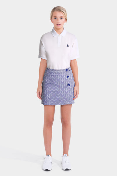 White Polo Shirt & Blue Mini Skirt