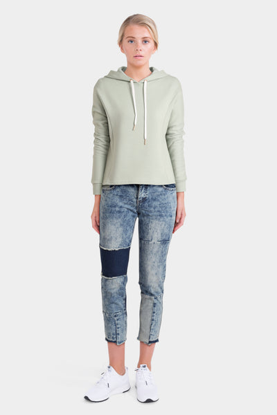 Mint Green Hoodie with Cropped Blue Jeans