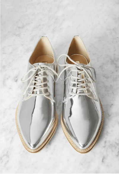 METALLIC FAUX LEATHER OXFORDS