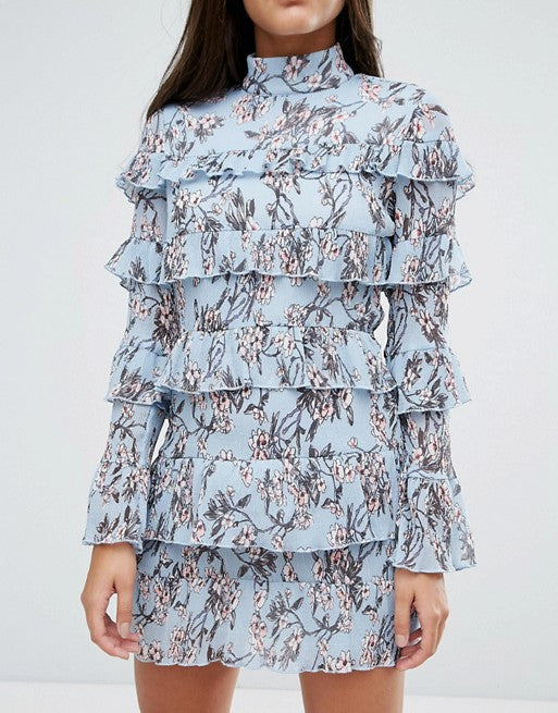 Missguided Plisse Ruffle Floral Mini Dress