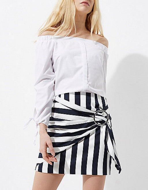 Navy Stripe Print Buckle Wrap Mini Skirt