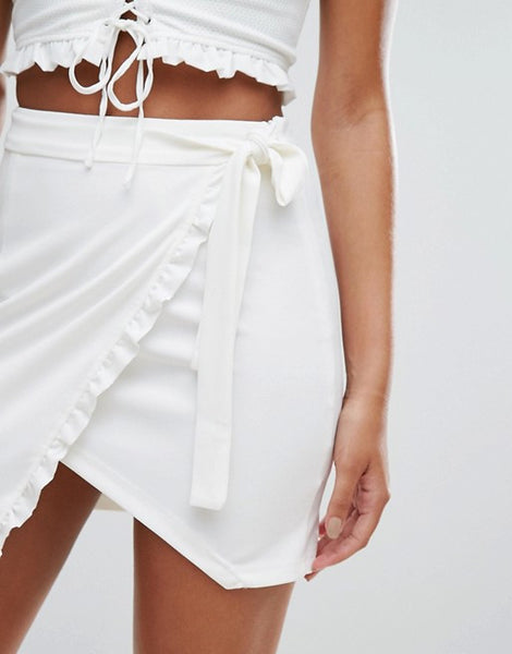 NaaNaa Mini Wrap Skirt with Frill Detail Co Ord