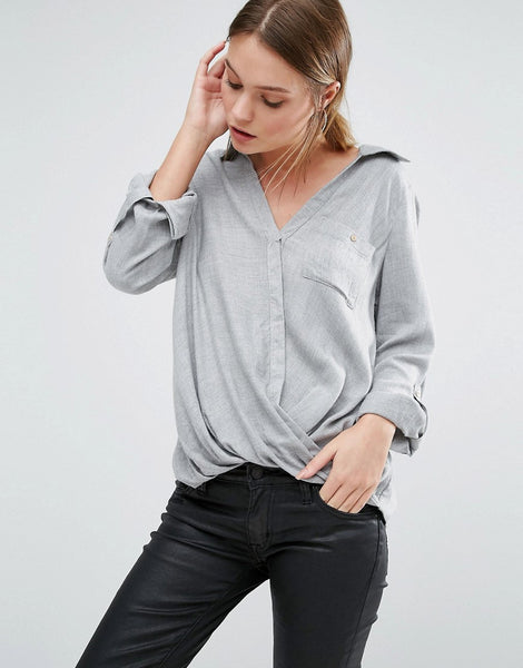 WRAP FRONT SHIRT TUCKED