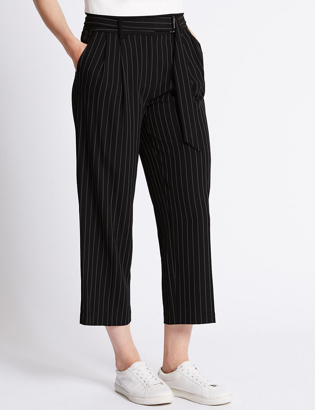 Pinstriped Cropped Trousers