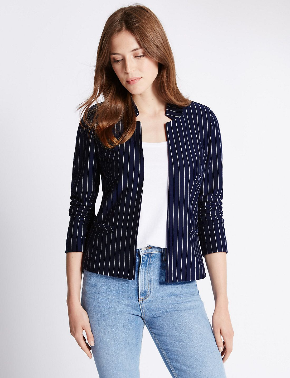 Pinstriped Jersey Jacket
