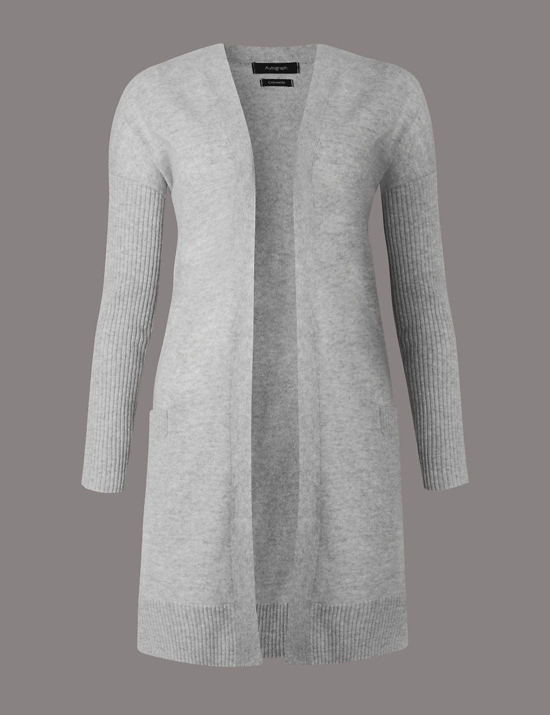 Pure Cashmere Oversized Cardigan Silver
