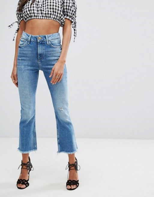 River Island Crop And Flare Denim Jeans