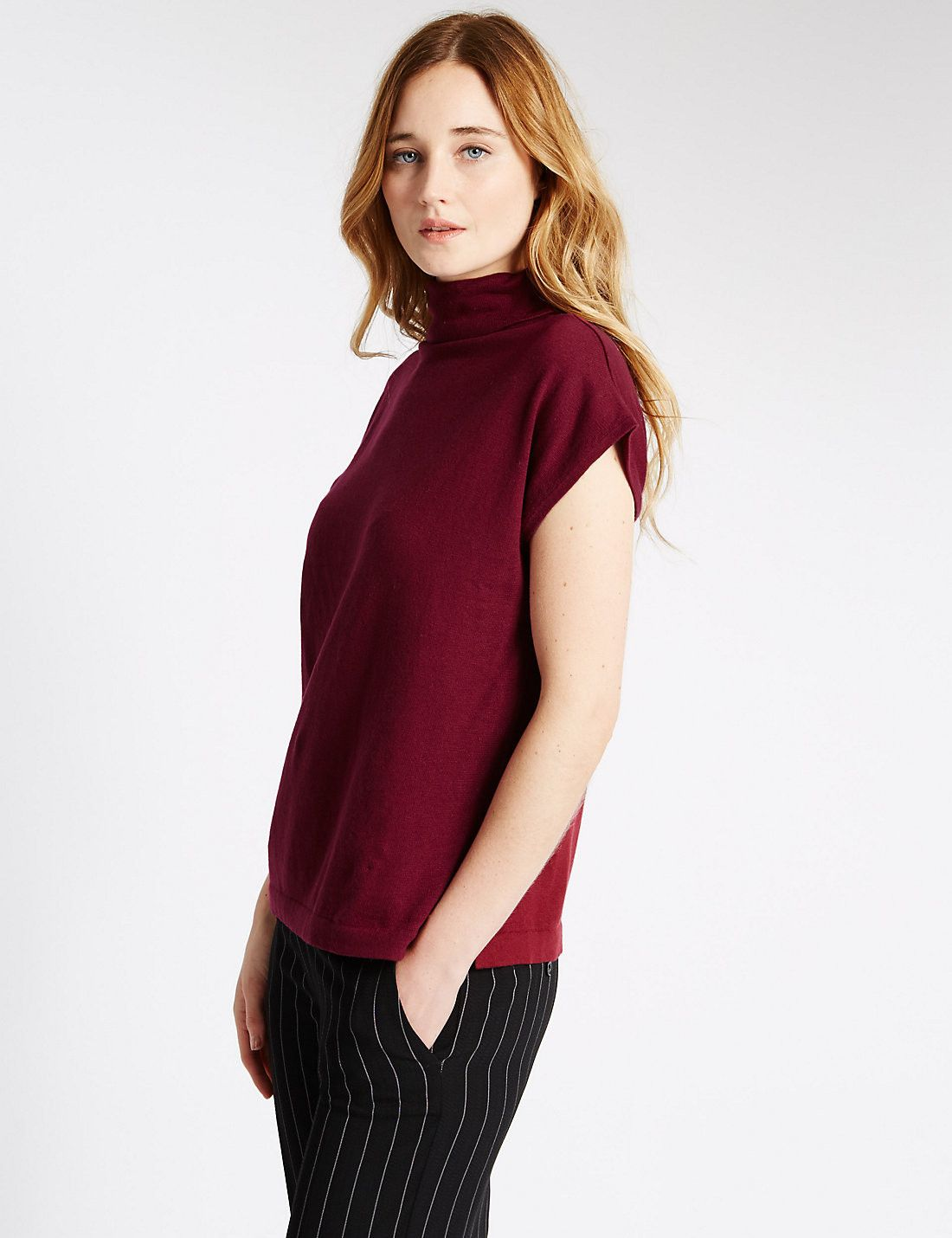 Roll Neck Tabard Jumper Burgundy