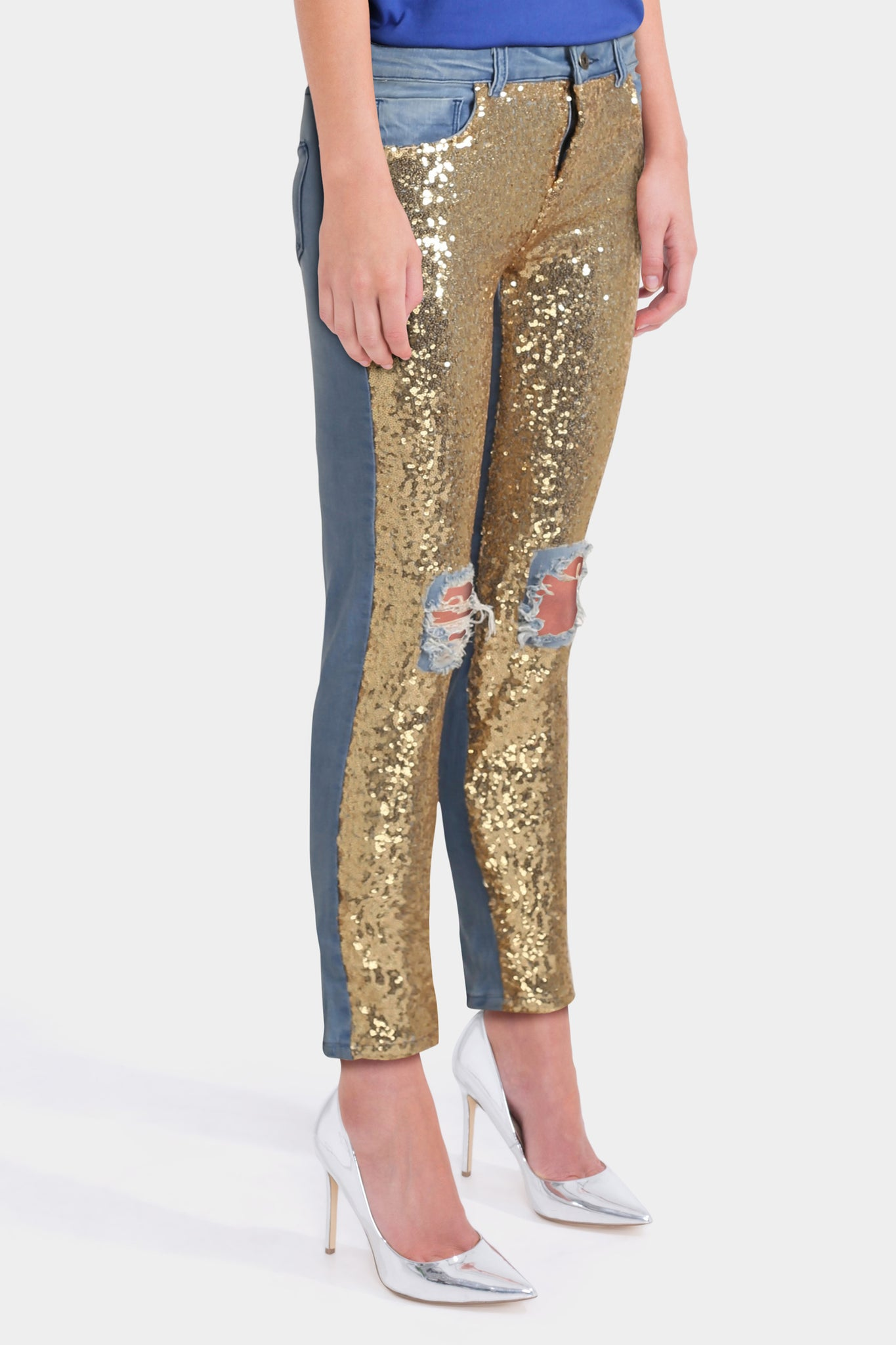 Kubban Distressed Sequin Front Skinny Jeans