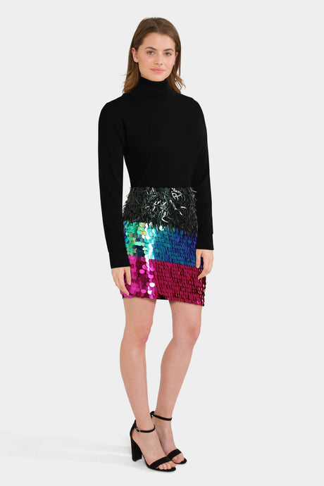 Embellished Mini Skirt & Polo Neck Sweater