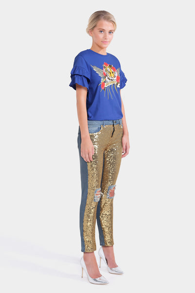 Kubban Distressed Sequin Jeans & T-Shirt with Ruffle Sleeve