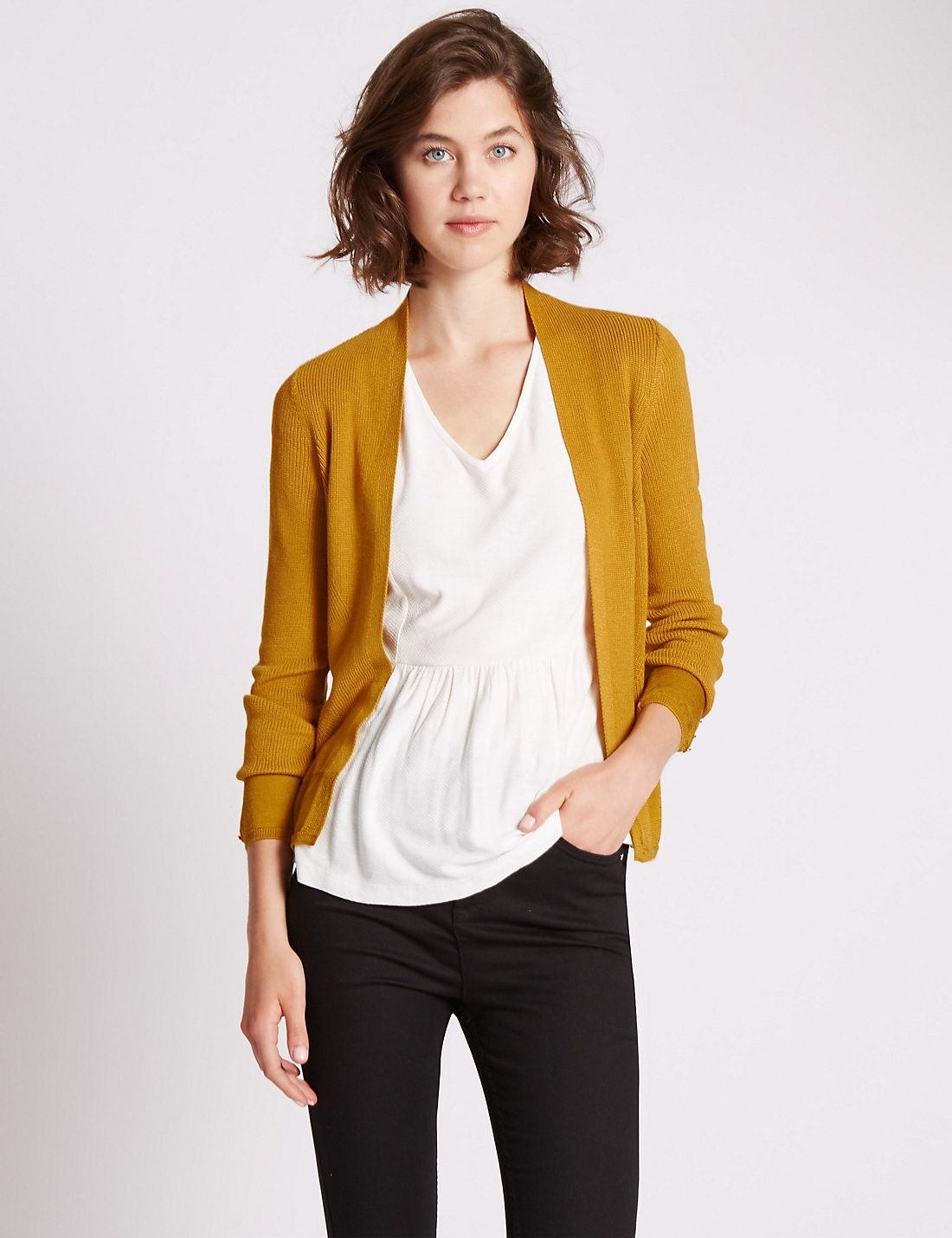 Tailored Fit Open Front Plaited Cardigan